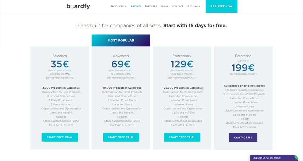 New pricing appearence for Boardfy